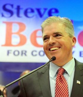 Photo credit: Newsday / Thomas A. Ferrara   Steve Bellone speaks to supporters. (Nov. 8, 2011)